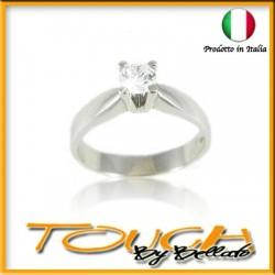 Anello solitario in argento 925% con zircone mm 4,5