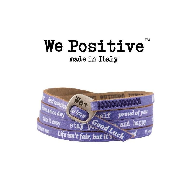 Bracciali We Positive in cuoio con frasi incise