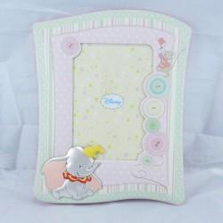 Cornice portafoto Disney in argento e tessuto con Dumbo con retro in legno colore rosa
