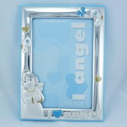 Cornice portafoto in argento Ardè con angelo con retro in legno azzurro