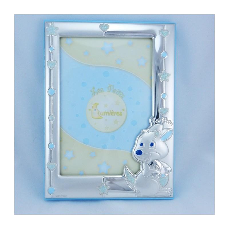Cornice portafoto in argento con canguro con retro in legno
