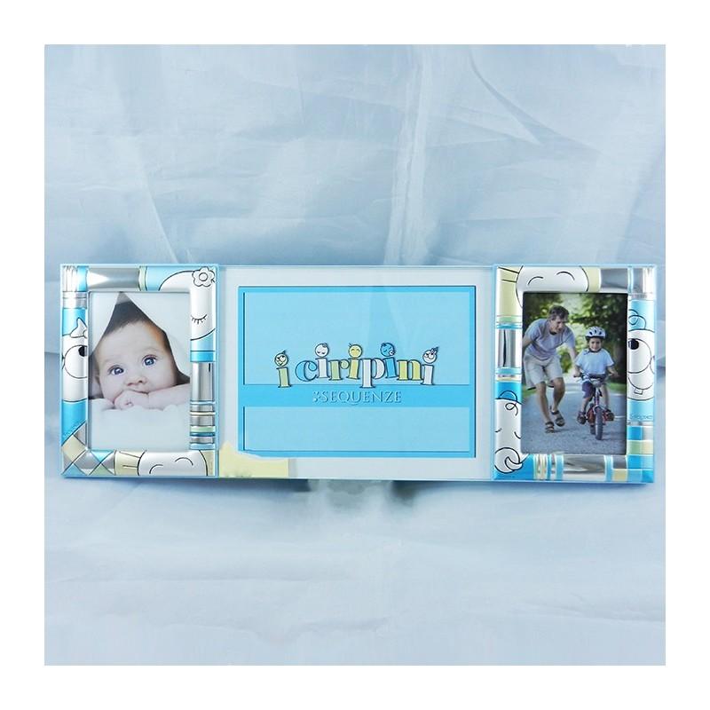 Cornice tripla portafoto Sequenze in argento