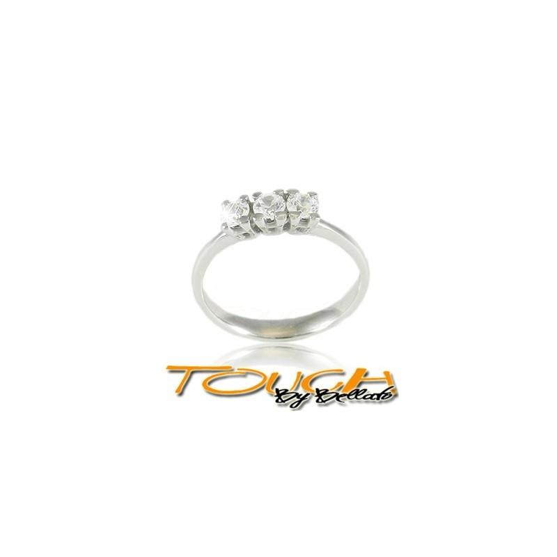 Delizioso anello trilogy argento 925% con brillanti c.z