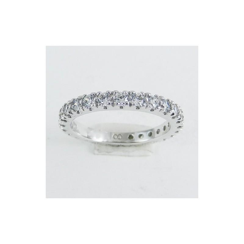Fedina oro bianco modello eternity/girodito con zirconi taglio brillanti