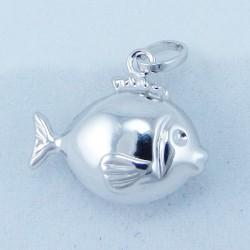 Pendente in oro bianco Pesce