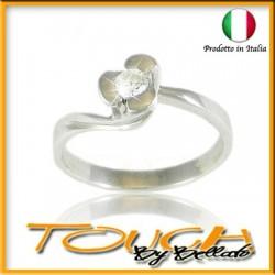 Stupendo anello solitario in argento 925% con brillante c.z mm 3
