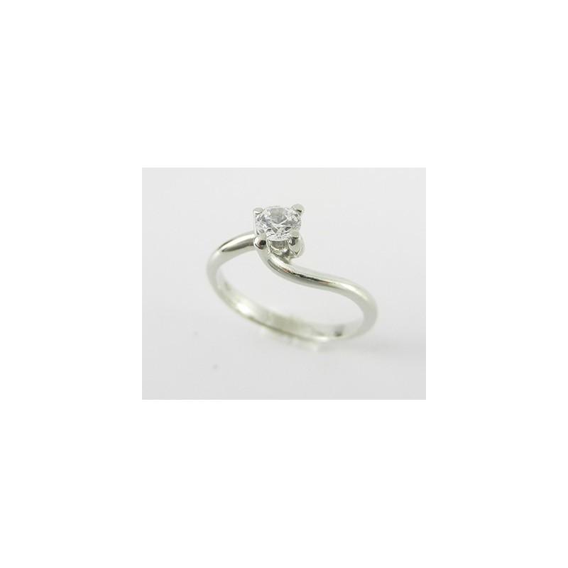 Solitario in argento 925% modello valentino con zircone mm 4,30